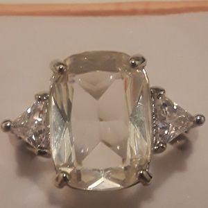 925 Silver size 10 white sapphire gemstone ring